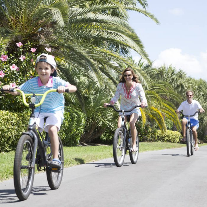 Family enjoying bike ride