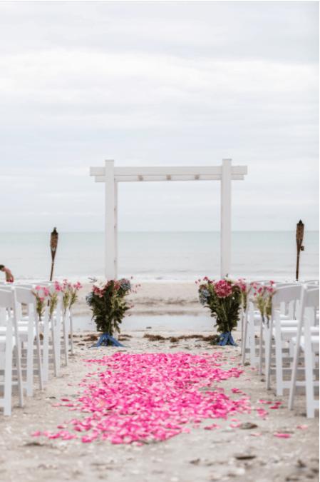 wedding altar on beach
