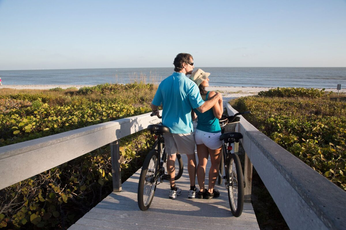 Couple on bikes looking at beach