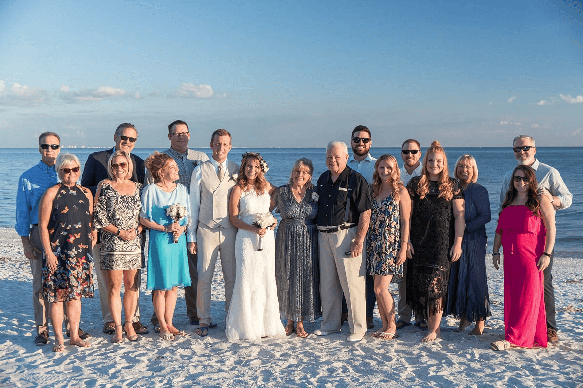 wedding group shot wedding party sundial sanibel island 2017