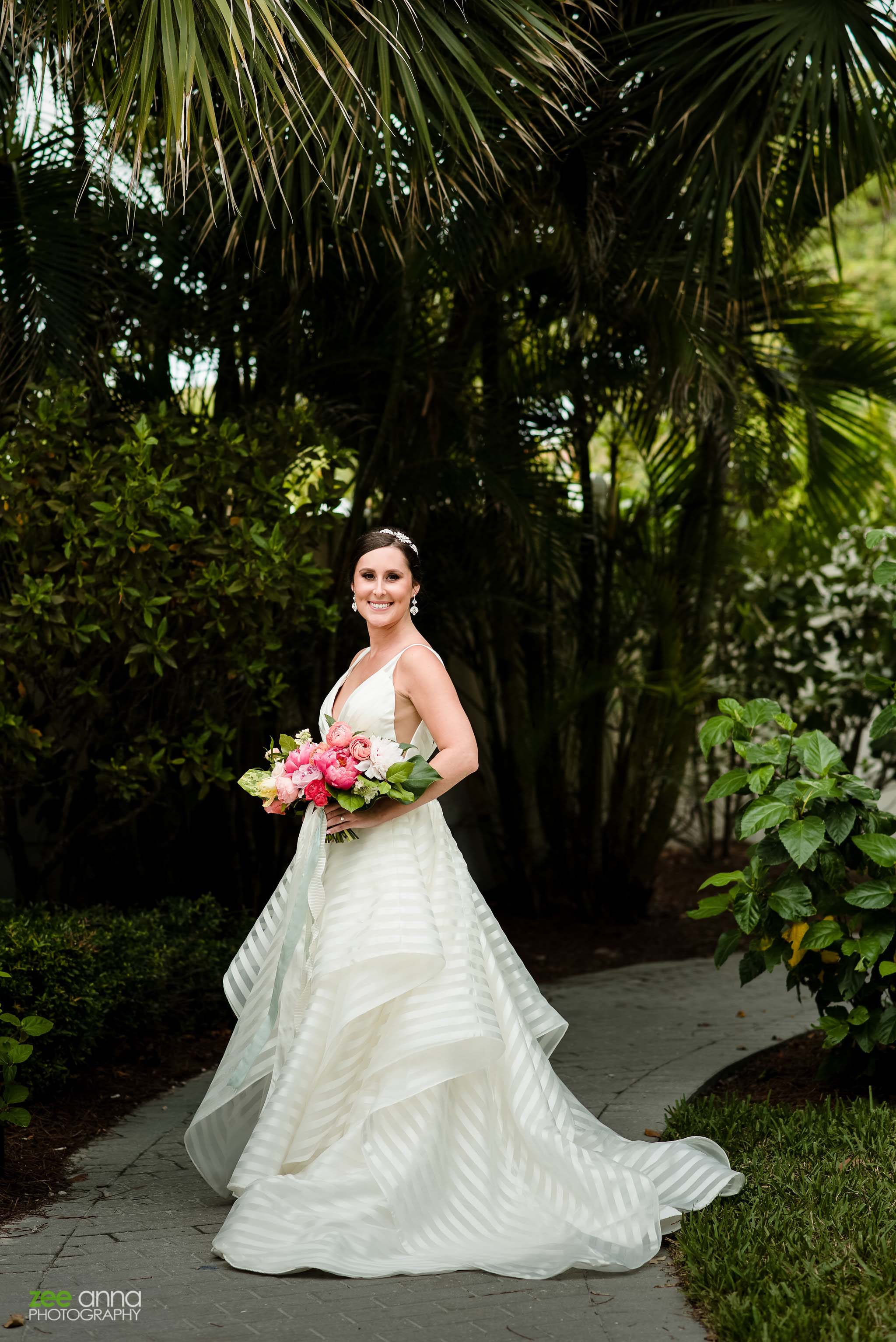 striped wedding dress island greenery