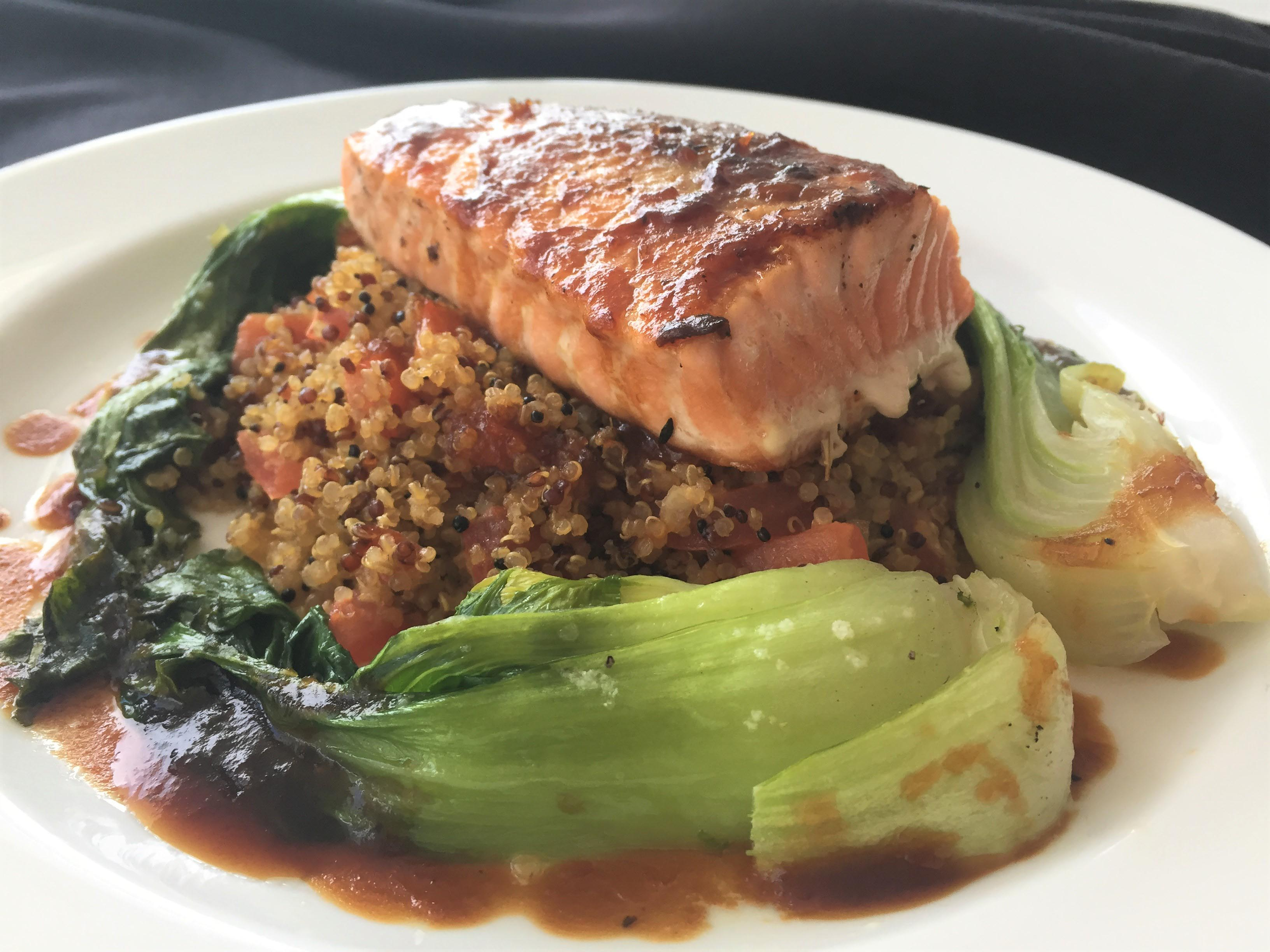 grilled salmon with quinoa and bok choy