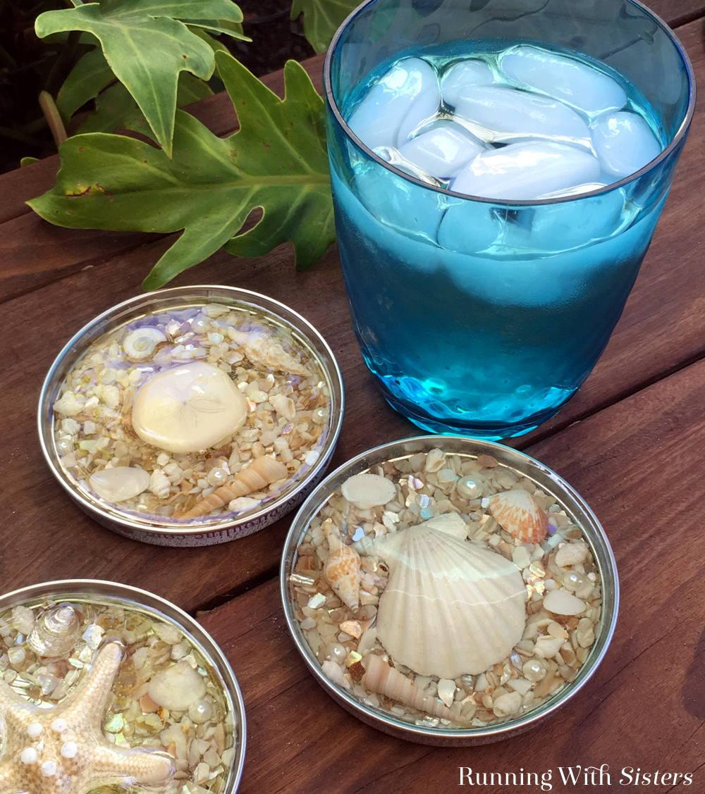 shell coasters diy gift idea