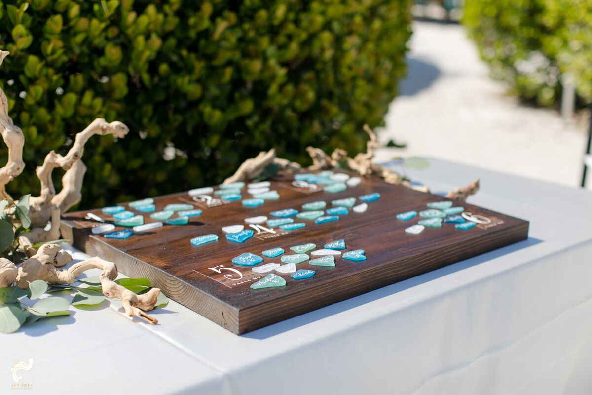 sea glass seat assignment wedding craft beach