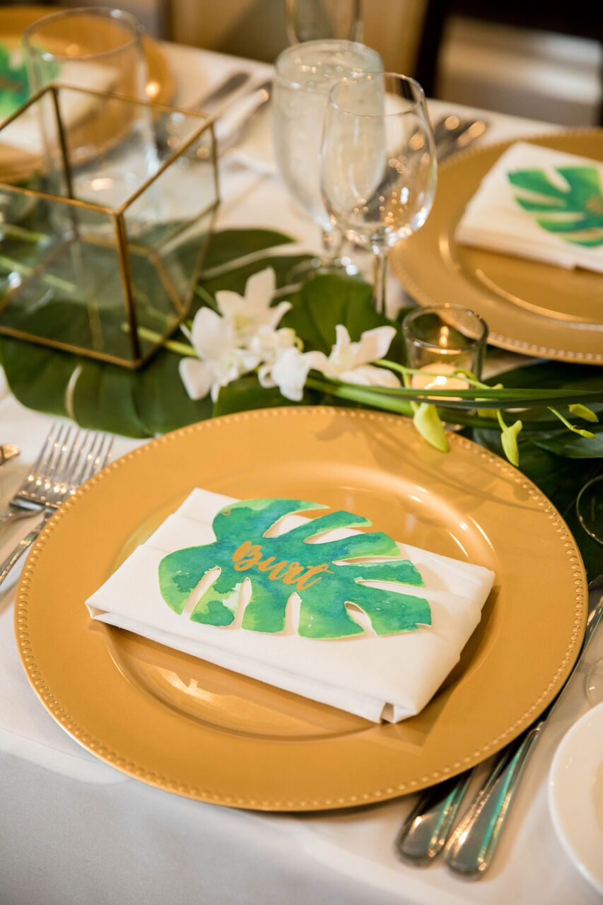 monstera place card seat assignment wedding tropicalq