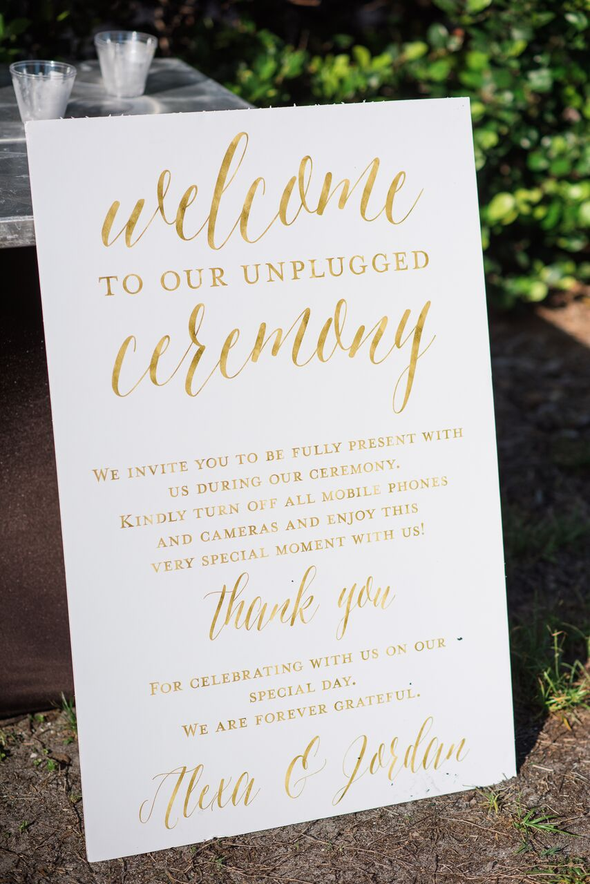 unplugged ceremony wedding beach sign