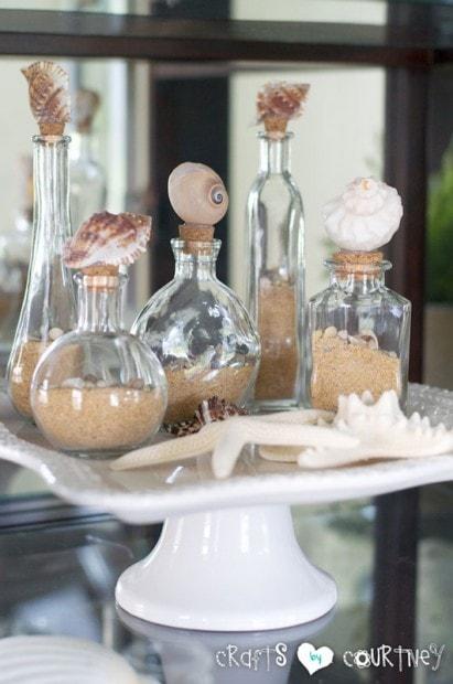 decorative shell beach bottles