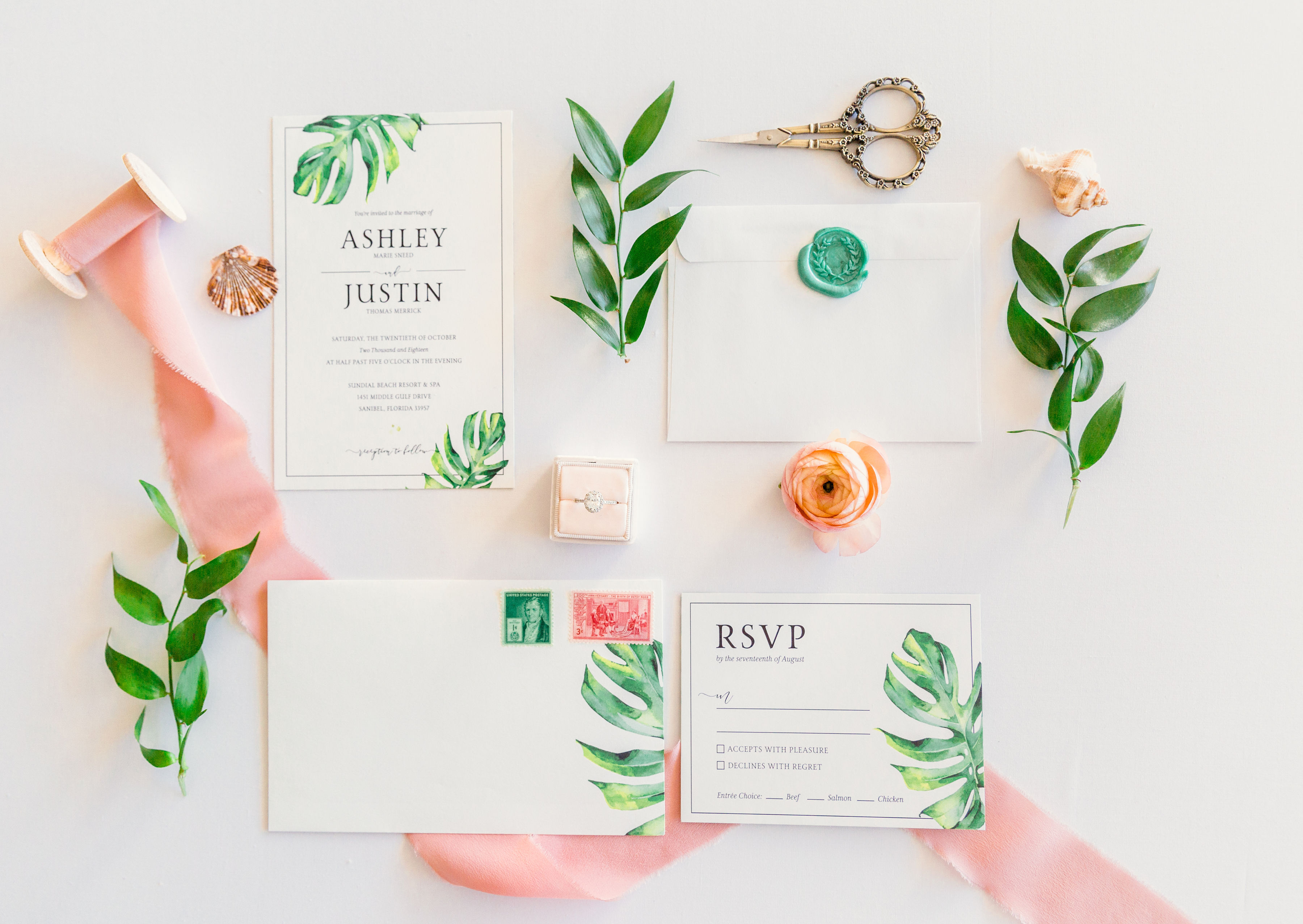 tropical wedding invitations elegant moments by stella