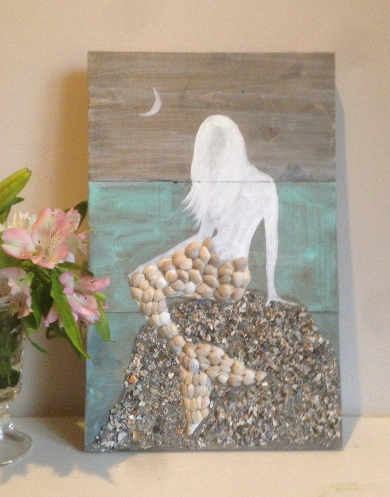 mixed media shell art mermaid diy